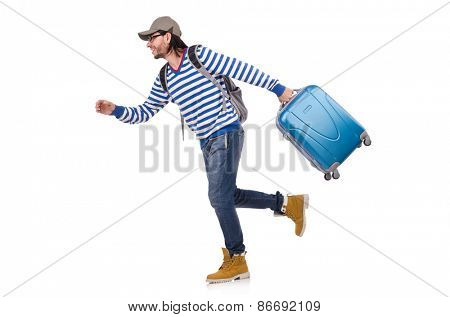 Running young traveller with case isolated on white