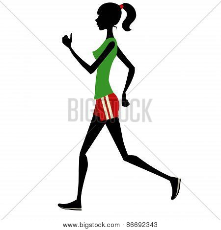 Slim girl runs silhouette