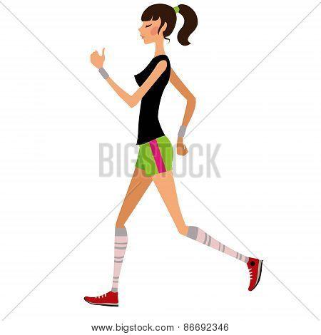 Slim girl runs