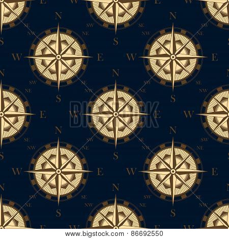 Seamless golden stylized compass rose pattern