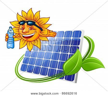 Solar panel with sun in cartoon style