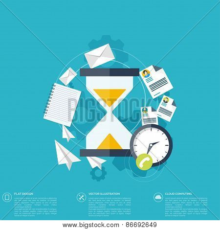 Sand clock flat icon. World time concept. Business background. Internet marketing. Daily infographic