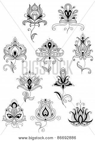 Ethnic paisley outline floral design elements