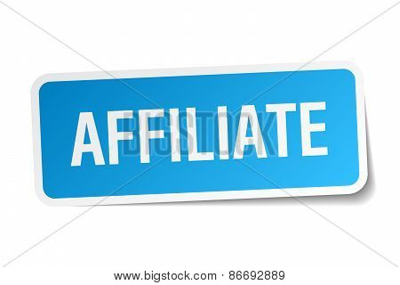Affiliate Blue Square Sticker Isolated On White