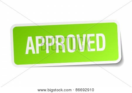 Approved Green Square Sticker On White Background