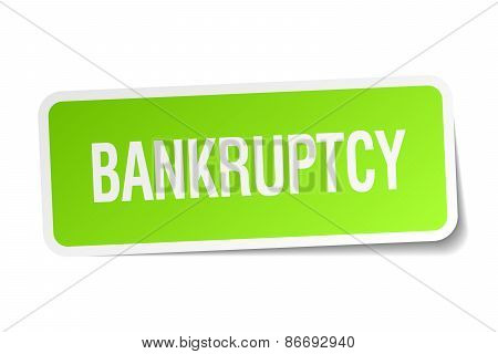 Bankruptcy Green Square Sticker On White Background