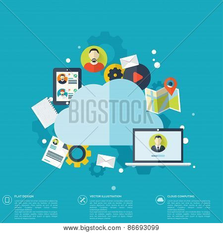 Flat cloud computing background. Data storage network technology. Multimedia content and web sites h
