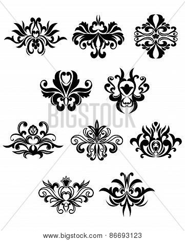 Damask flourish black design elements