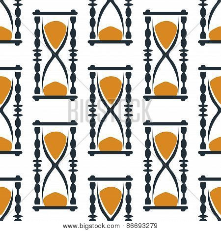 Vintage hourglasses or sandglasses seamless pattern
