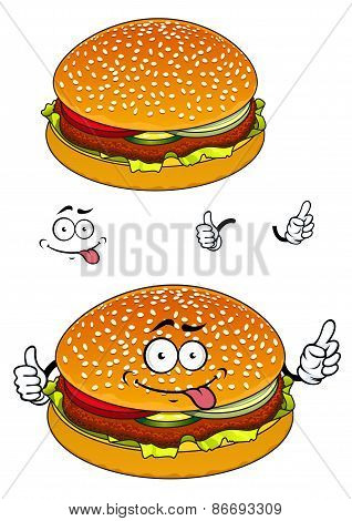 Hamburger cartoon character isolated on white