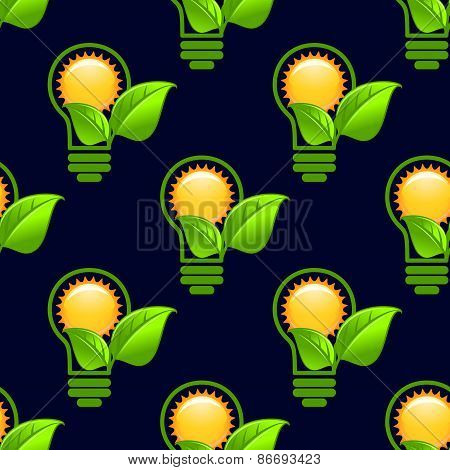 Sun inside lightbulb with leaves seamless pattern