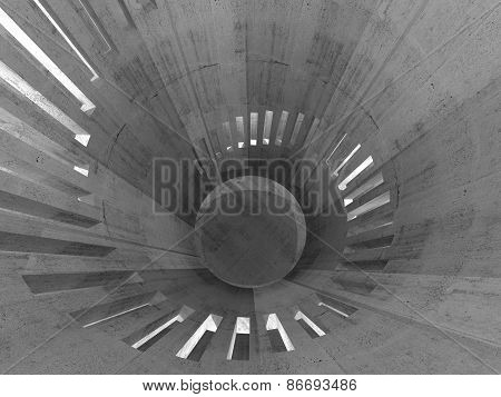 Abstract Concrete Round Tower Interior With Windows