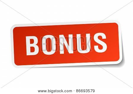 Bonus Red Square Sticker Isolated On White