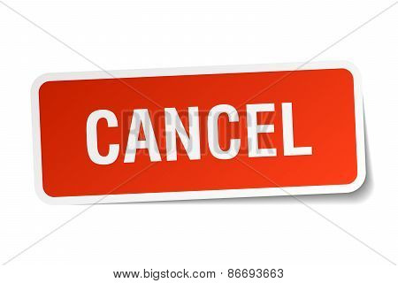 Cancel Red Square Sticker Isolated On White
