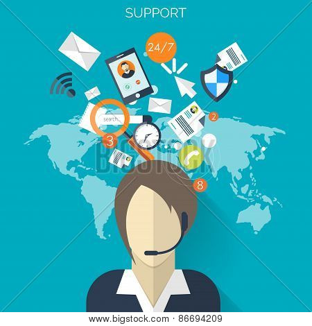 Flat support service background .Temwork concept. Global communication and working expierence. Busin