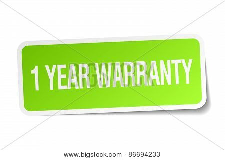 1 Year Warranty Green Square Sticker On White Background