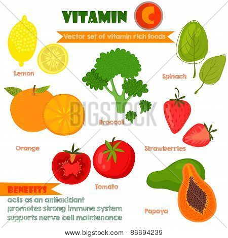 Vitamins And Minerals Foods Illustrator Set 1.vector Set Of Vitamin Rich Foods.vitamin C-lemon, Broc