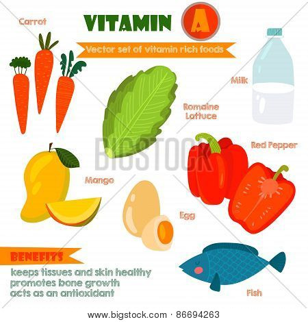 Vitamins And Minerals Foods Illustrator Set 2.vector Set Of Vitamin Rich Foods.vitamin A-carrots, Mi