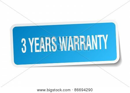 3 Years Warranty Blue Square Sticker Isolated On White