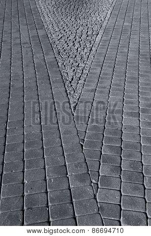 Line Of Paving Stones On The Sidewalk