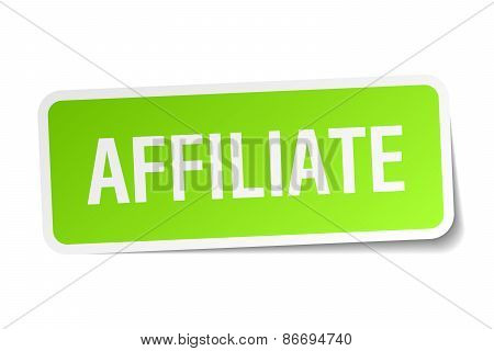 Affiliate Green Square Sticker On White Background