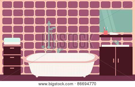 Interior of modern bathroom with purple tiles. Vector illustration