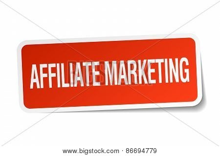 Affiliate Marketing Red Square Sticker Isolated On White
