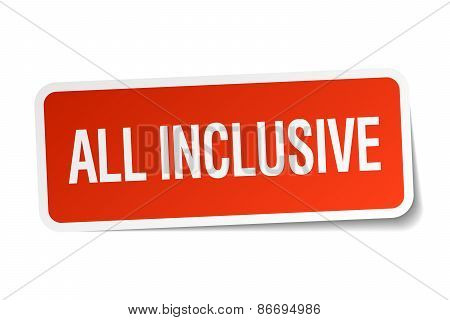 All Inclusive Red Square Sticker Isolated On White