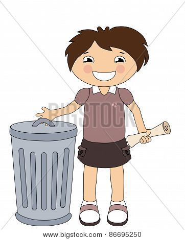 Smiling Cartoon Girl Throwing Out The Trash