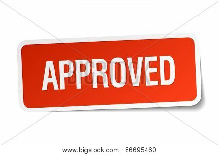 Approved Red Square Sticker Isolated On White