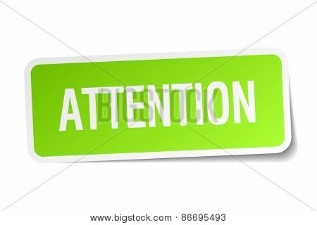 Attention Green Square Sticker On White Background