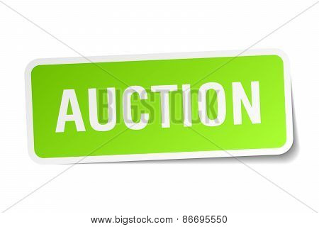 Auction Green Square Sticker On White Background