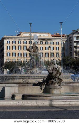Rome, Italy - 12Th March 2015: Part Of The Fountain Of The Naiads On Piazza Della Repubblica In Rome