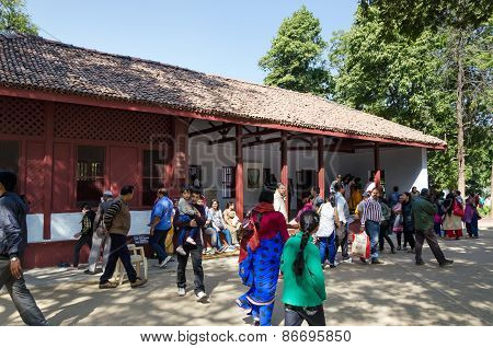 Ahmedabad, India - December 28, 2014: Tourist Visit House Of Mahatma Gandhi In Sabarmati Ashram.