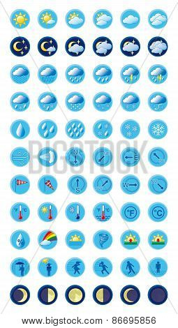 Weather Forecast Colorful Icons Set