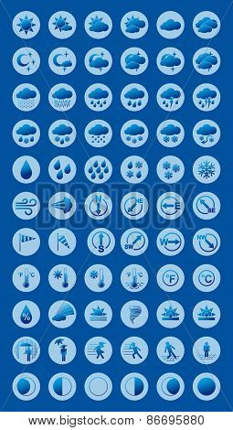Weather Forecast Blue Icons Set