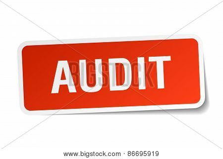 Audit Red Square Sticker Isolated On White