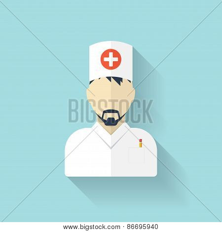 Flat medical doctor icon. Account profile avatar. Health care.