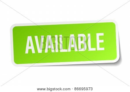 Available Green Square Sticker On White Background