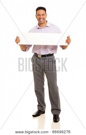 smiling businessman holding blank banner isolated on white background