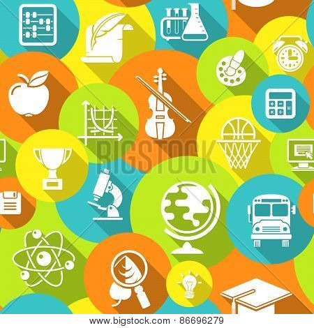 School Round Icons Colorful Seamless Pattern