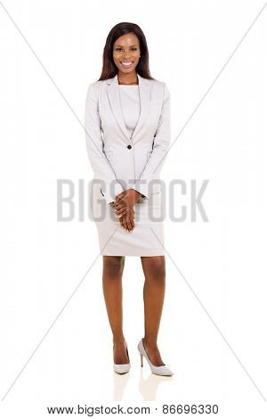 attractive african businesswoman in a suit isolated on white background