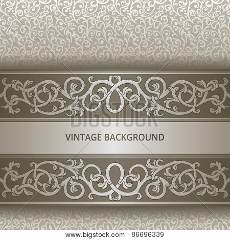 Vintage background with silver flourish elements