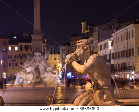 Fountain At Piazza Navona Rome