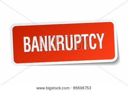 Bankruptcy Red Square Sticker Isolated On White