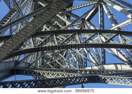 Metalworks famous Dom Luis I Bridge in Porto, Portugal.
