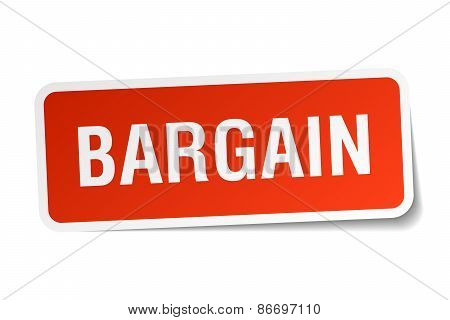 Bargain Red Square Sticker Isolated On White