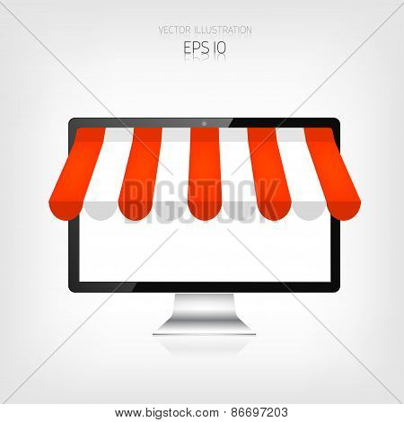 Internet shopping concept. Realistic monitor, personal computer. E-commerce. Online store. Web money