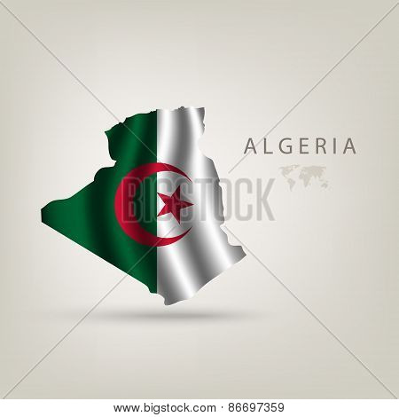 Flag Of Algeria As A Country With A Shadow