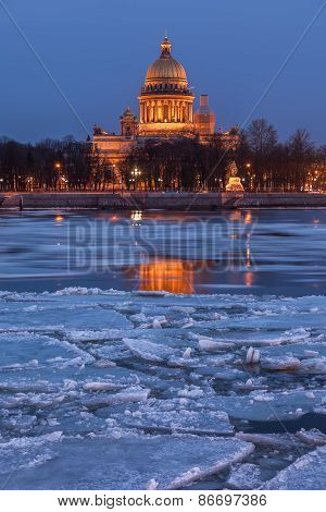 Saint Isaac's Cathedral at sunset, St. Petersburg